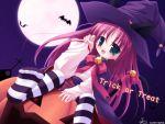 catgirl fang halloween hat long_hair moon night purple_hair ribbons sky thigh-highs tsubasa_tamago witch