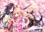 bad_id blonde_hair blush brown_hair cherry_blossoms hair_ornament highres holding_hands japanese_clothes kimono long_hair multiple_girls onineko orange_hair original petals pink_eyes smile wind yuri