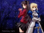 2girls ahoge armor artoria_pendragon_(all) back-to-back black_hair blonde_hair blue_eyes fate/stay_night fate_(series) female gems girl green_eyes grumpy looking_at_another night ribbon saber skirt sparkles stars sword tohsaka_rin tree turtleneck twintails type_moon weapon