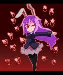 bunny_ears chibi danmaku haiiro_gundan highres pantyhose purple_hair rabbit_ears reisen_udongein_inaba touhou