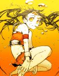 amber_eyes bare_shoulders barefoot brown_hair feet golden_eyes hands hands_on_feet kawazu legs midriff mouth_hold orange_eyes original underwater yellow_eyes