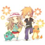1boy 1girl aruya_(flosrota) bad_id blue_(pokemon) brown_hair bulbasaur charmander chibi hand_holding hat holding_hands leaf_(pokemon) ookido_green ookido_green_(frlg) pokemon pokemon_(creature) pokemon_(game) pokemon_frlg porkpie_hat wristband