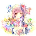 armband blazer blonde_hair blue_eyes blush bouquet brown_hair colorful dia_(shugo_chara!) flower guardian_chara hair_flower hair_ornament hairband happy hinamori_amu looking_down miki_(shugo_chara!) minigirl necktie orange_eyes ran_(shugo_chara!) red_eyes shugo_chara! side_ponytail smile suu_(shugo_chara!) torii_sumi yellow_eyes
