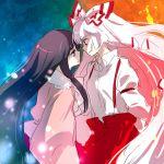 eye_contact fire fujiwara_no_mokou houraisan_kaguya long_hair matyinging multiple_girls ribbon sketch touhou