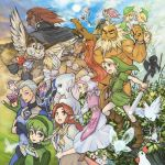 animal beard bird blonde_hair blue_eyes blue_hair broom chicken dark_link darunia earrings epona everyone facial_hair fado fairy ganondorf great_fairy green_eyes green_hair grin hakobe_(ichiru) hat horse impa ingo instrument jewelry kaepora_gaebora kotake koume link malon mido mido_(legend_of_zelda) midriff nabooru navi nintendo ocarina ocarina_of_time owl pointy_ears ponytail princess_ruto princess_zelda rake red_eyes red_hair redhead reverse_trap saria scarf sheik shield siblings silver_hair sleeping smile sword talon the_legend_of_zelda twins weapon