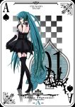 black_dress card card_(medium) dress elbow_gloves futaba_(artist) gloves hatsune_miku high_heels highres legs long_hair looking_back playing_card shoes solo spade tattoo thigh-highs thighhighs twintails very_long_hair vocaloid zettai_ryouiki