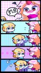 2girls blonde_hair border chibi comic fever horn hoshiguma_yuugi maigonori-yayume mizuhashi_parsee multiple_girls polka_dot polka_dot_background silent_comic striped striped_background touhou vertical_stripes