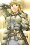 arms_up blonde_hair blue_eyes choker fingerless_gloves gloves itou_(onsoku_tassha) long_hair mole original sheath sheathed solo sword weapon