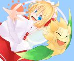1girl :d ahoge amakoke blonde_hair blue_eyes crossover fairy_wings hairband lolita_hairband looking_at_viewer open_mouth outstretched_arms pokemon pokemon_(creature) smile spread_arms sunflora sunny_milk touhou wings