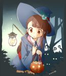 1girl akko_kagari brown_eyes brown_hair chestnut_mouth dated halloween hat jack-o'-lantern little_witch_academia long_hair nagian solo witch witch_hat