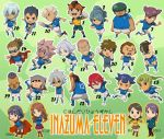 4girls 6+boys armband bandaid black_eyes blue_hair breasts brown_eyes brown_hair cape chibi endou_mamoru everyone fubuki_shirou fudou_akio gloves goalkeeper goggles goggles_on_head gouenji_shuuya green_eyes grin hair_over_one_eye hairlocs headband hijikata_raiden inazuma_eleven inazuma_eleven_(series) inazuma_japan kabeyama_heigorou kazemaru_ichirouta kidou_yuuto kino_aki kiyama_hiroto kogure_yuuya kudou_fuyuka kurimatsu_teppei long_hair looking_at_viewer matsuno_kuusuke midorikawa_ryuuji mizuhara_aki mukata_masaru multicolored_hair multiple_boys multiple_girls one_eye_closed open_mouth otonashi_haruna pink_hair pleated_skirt ponytail purple_hair raimon_natsumi redhead sakuma_jirou short_hair skirt smile soccer_uniform someoka_ryuugo sportswear standing sunglasses tachimukai_yuuki tobitaka_seiya tsunami_jousuke two-tone_hair uniform_number utsunomiya_toramaru white_hair yamino_kageto