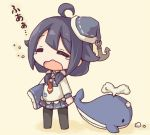 1girl ahoge anchor black_hair chibi closed_eyes holding kantai_collection kata_meguma looking_at_viewer lowres mini_hat open_mouth pleated_skirt school_uniform serafuku skirt solo stuffed_whale taigei_(kantai_collection) tears translation_request