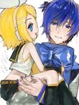 1boy 1girl bangs bare_shoulders black_collar black_shorts blonde_hair blue_hair blue_nails blue_scarf bow carrying child collar collared_shirt crop_top fang from_side hair_bow hair_ornament hairclip headphones holding_another kagamine_rin kaito korpokkur_kne leg_warmers looking_at_viewer nail_polish open_mouth sailor_collar scarf shirt short_hair short_shorts shorts skin_fang sleeveless sleeveless_shirt smile sweat swept_bangs tied_hair translated vocaloid white_bow white_shirt younger
