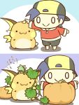 1boy :> :3 cafe_(chuu_no_ouchi) chibi gold_(pokemon) hat no_humans pokemon pokemon_(creature) pokemon_(game) pokemon_hgss pumpkin raichu seed smile tail