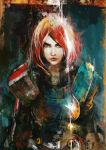 armor commander_shepard_(female) green_eyes lips looking_at_viewer mass_effect_3 muju n7_armor pouring redhead solo water