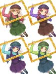 4girls aran_hat argyle argyle_legwear beret blue_hair brown_eyes brown_hair dress green_hair hat highres hisho_collection komase_(jkp423) long_hair low_twintails multiple_girls picture_frame redhead scrunchie short_hair simple_background thigh-highs turtleneck twintails waving wavy_hair white_background