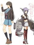 2girls asa_furo bare_shoulders black_hair brown_eyes cardigan cosplay costume_switch elbow_gloves gloves hairband headgear kantai_collection long_hair multiple_girls nagato_(kantai_collection) nagato_(kantai_collection)_(cosplay) nagato_yuki nagato_yuki_(cosplay) namesake purple_hair red_eyes school_uniform short_hair skirt suzumiya_haruhi_no_yuuutsu thigh-highs translation_request