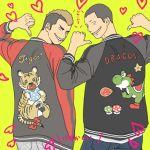 2boys bib blonde_hair buzz_cut cameo clothes_writing gimme grin haikyuu!! heart jacket looking_at_viewer male mohawk multicolored_hair multiple_boys mushroom pointing smile super_mario_bros. tanaka_ryuunosuke tiger yamamoto_taketora yellow_background yoshi