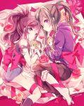 2girls bow character_doll green_hair kabocha_torute kagerou_project kano_shuuya kido_tsubomi long_hair multiple_girls n_(pokemon) pokemon pokemon_(game) pokemon_bw ponytail purple_hair ribbon shorts touko_(pokemon) violet_eyes