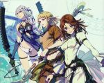 3girls bandages belt blonde_hair blue_eyes bracelet brown_hair drag-on_dragoon drag-on_dragoon_2 dress flower fujisaka_kimihiko furiae garters hair_ornament highres jewelry kaine_(nier) manah midriff multiple_girls nier official_art panties red_eyes silver_hair staff sword underwear weapon