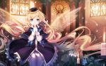 1girl blonde_hair blue_eyes bow candle church fuyouchu hat highres long_hair looking_at_viewer original smile solo very_long_hair