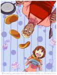 1boy 1girl animalization apron bee english fork frying_pan fukuso_hilbert_kuukan gamagoori_ira honey kill_la_kill knife mankanshoku_mako pancake plate smile spatula upside-down