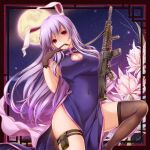 1girl animal_ears assault_rifle biting black_gloves breasts china_dress chinese_clothes cleavage_cutout fishnet_gloves fishnet_legwear fishnets flower full_moon glove_biting glove_pull gloves gun jpeg_artifacts large_breasts long_hair looking_at_viewer moneti_(daifuku) moon night night_sky purple_hair rabbit_ears reisen_udongein_inaba rifle sky solo star_(sky) starry_sky thigh-highs thigh_pouch touhou very_long_hair violet_eyes weapon