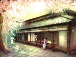 2girls bow cherry_blossoms hair_bow hat konpaku_youmu multiple_girls petals pink_hair rock_garden saigyouji_yuyuko silver_hair touhou untsue