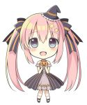 1girl :d blue_eyes chibi detached_sleeves hair_ornament halloween holding jack-o'-lantern long_hair looking_at_viewer mary_janes mini_witch_hat open_mouth original pink_hair riria_(happy_strawberry) shoes simple_background smile solo star_hair_ornament striped striped_legwear twintails very_long_hair white_background