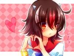 1girl black_hair bracelet checkered checkered_background heart heart_hands horns jewelry kijin_seija kujou_mikuru looking_away orange_eyes red_eyes touhou