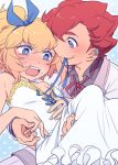 2boys blonde_hair blue_eyes blush crossover danball_senki danball_senki_wars dress hoshihara_hikaru male multiple_boys naruko_(nalcoro) open_mouth short_hair sweat trap violet_eyes yaoi