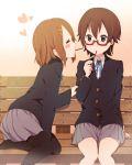 2girls absurdres bench brown_hair closed_eyes glasses highres hirasawa_yui k-on! manabe_nodoka multiple_girls nikkezyoruno pantyhose pocky school_uniform short_hair