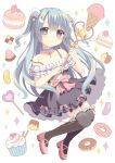 1girl black_legwear blue_eyes blue_hair candy choker detached_sleeves frills hair_ornament holding ice_cream_cone jelly_bean lollipop long_hair looking_at_viewer magical_girl mary_janes original pudding riria_(happy_strawberry) shoes smile solo star_hair_ornament strawberry_shortcake thigh-highs two_side_up wand zettai_ryouiki