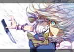 1girl action ascot blue_eyes blue_shirt blur bow braid breasts constricted_pupils hair_bow hair_over_one_eye hitoshi_(pixiv3340857) izayoi_sakuya knife open_hand puffy_short_sleeves puffy_sleeves short_sleeves silver_hair solo tagme touhou twin_braids wrist_cuffs