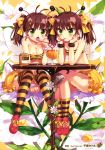 2girls absurdres antennae bee_girl blush breasts brown_hair chiba_sadoru cleavage cup drinking drinking_straw flower green_eyes hair_ribbon highres honey insect_girl long_hair multiple_girls original ribbon shoes sitting skirt smile sneakers thigh-highs tubetop twintails wings