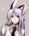 1girl animal_ears bust collared_shirt hanemikakko lavender_background leaning long_sleeves looking_to_the_side neck necktie purple_hair rabbit_ears red_eyes reisen_udongein_inaba simple_background sketch smile solo touhou
