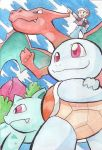 1boy bulbasaur charizard clouds crossed_arms fang from_below hat nib_pen_(medium) oda_takashi pointing pokemon pokemon_(creature) sky smile squirtle super_smash_bros. traditional_media watercolor_(medium)