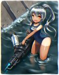 1girl fang gia long_hair orange_eyes original school_swimsuit silver_hair solo swimsuit tan tanline water weapon