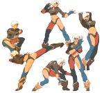 1girl angel_(kof) ass baptiste_pagani blue_eyes boots breasts chair chaps cleavage collage cowboy_boots cropped_jacket fighting_stance fingerless_gloves gloves high_kick kicking king_of_fighters large_breasts midriff navel short_hair short_shorts shorts sitting sleeves_rolled_up solo