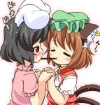 2girls animal_ears black_hair blush brown_hair cat_ears cat_tail chen closed_eyes dress ear_piercing holding_hands inaba_tewi interlocked_fingers jewelry mob_cap mouth_hold multiple_girls multiple_tails piercing pila-pela pink_dress pocky pocky_kiss puffy_short_sleeves puffy_sleeves rabbit_ears red_dress red_eyes shared_food short_sleeves single_earring tail touhou