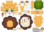 1girl ahoge animal_costume artist_name blonde_hair blush boned_meat character_name chibi el_joey fangs fate/stay_night fate_(series) food grass green_eyes highres lion_costume meat open_mouth paper_cut-out papercraft saber saber_lion solo tail