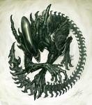 alien_(movie) aliens aliens_vs_predator claws fangs jaw jimmy_xu long_tail monster no_humans science_fiction sharp_teeth solo uroboros xenomorph