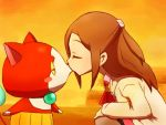 1girl blush_stickers brown_hair character_request closed_eyes jibanyan kiss long_hair ohshioyou profile squatting youkai_watch