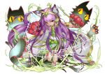1girl animal_ears anklet armlet bare_legs bare_shoulders bastet_(p&d) baton_(instrument) cat cat_ears claws dark_skin dress earrings egyptian facial_mark headpiece holding jewelry kei_(keiclear) long_hair musical_note open_mouth paws purple_hair puzzle_&_dragons red_eyes simple_background slit_pupils solo very_long_hair white_background white_dress