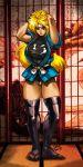1girl arms_up black_legwear blonde_hair blue_eyes breasts headband large_breasts leotard long_hair martial_champion ninja racheal savagejase short_sleeves shouji sliding_doors solo tabi tatami thigh-highs