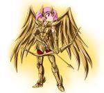 1girl armor arrow bow_(weapon) breastplate gauntlets greaves highres hipporit kaname_madoka mahou_shoujo_madoka_magica parody pauldrons pink_eyes pink_hair sagittarius_aiolos saint_seiya solo weapon wings