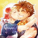 1boy 1girl bandana blonde_hair brown_hair couple happy_birthday hat_rose hetero holiday-jin jojo_no_kimyou_na_bouken joseph_joestar_(young) kiss scarf sparkle suzi_quatro