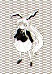 1girl animal_ears blazer highres itou_yuuji long_hair monochrome necktie optical_illusion rabbit_ears reisen_udongein_inaba solo touhou