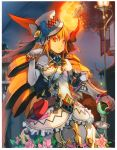 1girl absurdres armor belt bracelet brown_hair drill_hair elbow_gloves flower full_moon gauntlets gloves hat highres jewelry kaku-san-sei_million_arthur ky looking_at_viewer moon pauldrons red_eyes scan standing tagme top_hat twin_drills twintails weapon