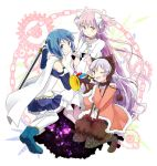 3girls ;d armband blue_eyes blue_hair bow cape choker fur_trim gloves goddess_madoka hair_bow hat instrument kaname_madoka kirikuchi_riku long_hair magical_girl mahou_shoujo_madoka_magica mahou_shoujo_madoka_magica_movie midriff miki_sayaka momoe_nagisa multiple_girls navel one_eye_closed open_mouth pantyhose pink_hair polka_dot polka_dot_legwear smile spoilers sword thigh-highs trumpet two_side_up weapon white_hair yellow_eyes zettai_ryouiki